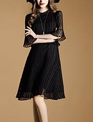 Mujer Línea A Vaina Pequeño Negro Vestido Noche Casual/Diario Vacaciones Simple Chic de Calle Sofisticado,Un Color Escote RedondoHasta la