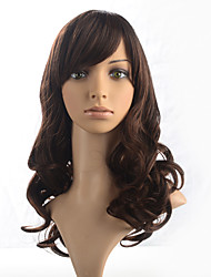 Capless Dark Brown Wig Long Wavy Curly Synthetic Fiber Wig Side Part Bangs Cosplay Costume Wig