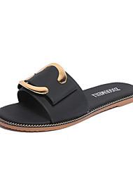 Sandalen-Lässig-PU-Flacher Absatz-Komfort-Schwarz Blau