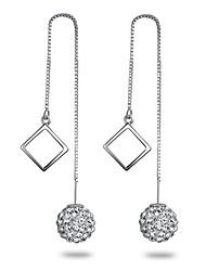 925 Sterling Silver Triangle Square Earrings AAA Zircon Ball Long Drop Earrings Jewelry