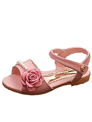 Sandals Spring Summer Fall Comfort PU Casual Flat Heel Imitation Pearl Pink White