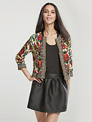 Women's Going out Chinoiserie Jackets,Embroidered Round Neck Long Sleeve Fall Black / Brown Polyester Medium