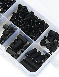 260 Black M3 Plastic Nylon Screw Nut Hexagonal Isolation Column Combination Gasket Screw Set
