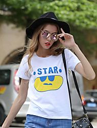 Damen Buchstabe Aktiv Lässig/Alltäglich T-shirt,Rundhalsausschnitt Frühling Sommer Kurzarm Baumwolle Mittel