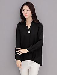 подписать новый 2017 корейская шифона рубашку большой ярдов длинный участок футболку простой дикий дна рубашки блузки