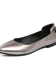 Women's Flats Spring Summer Fall Other PU Office & Career Party & Evening Dress Flat Heel Bowknot Black Silver Champagne