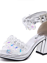Sandals Summer Comfort Rubber Dress Chunky Heel Crystal Silver Gold