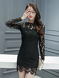 Sign ladies new winter fashion wild Slim minimalist perspective lace dress bottoming dress