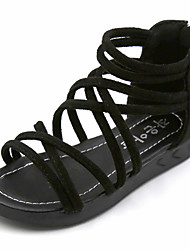 Sandals Spring Summer Fall Gladiator Flower Girl Shoes Rubber Outdoor Athletic Casual Low Heel Black Pink Taupe Khaki Walking