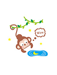 Wall Stickers Wall Decals Style Monkey Fishing Moon Switch PVC Wall Stickers