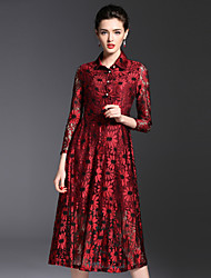 Burdully Going out Cute Sheath DressPrint Notch Lapel Midi Long Sleeve Polyester Red Gold Spring Summer Mid Rise Inelastic