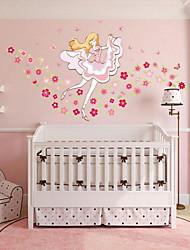 Cartoon Flowers Girl Wall Sticker Vinyl Material Home Decoration