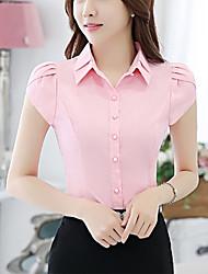 Для женщин На выход Лето Рубашка Воротник-стойка,Простое Однотонный Синий Розовый Белый С короткими рукавами,Полиэстер,Средняя