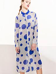 M Casual/Daily Cute Spring Summer ShirtPolka Dot Shirt Collar Long Sleeve Blue Polyester