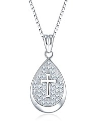 Pendants Sterling Silver Simulated Diamond Cross Drop Cross Silver Jewelry Daily Casual 1pc