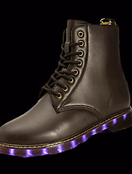Boots Spring Fall Light Up Shoes Couple Shoes PU Outdoor Low Heel LED Lace-up Black Brown Walking