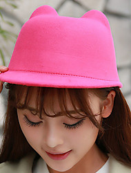 Autumn Winter Solid Color Woolen Demon Cat Ears Equestrian England Hat