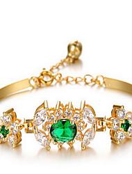 Chain Bracelet Zircon Simulated Diamond 18K gold Alloy Fashion Jewelry Gold Jewelry 1pc