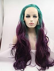 sylvia peruca dianteira do laço sintético verde para resistentes perucas roxo Onda de calor naturais ombre sintéticas