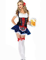 Costumes de Cosplay Tenus de Servante Fête / Célébration Déguisement d'Halloween Noir Bleu Couleur Pleine Carnaval Féminin Satin élastique