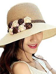 chapéu de palha floral mulheres verão meados sol brim chapéus