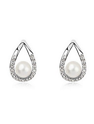 Stud Earrings Pearl Pearl Alloy Natural Fashion Jewelry White Gray Copper Jewelry Daily 1 pair
