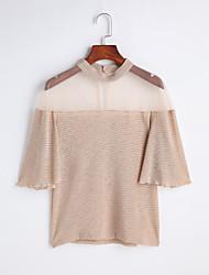 Damen Solide Einfach Ausgehen T-shirt,Ständer Frühling Sommer Kurzarm Andere