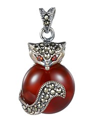 Red Agate Pendants Basic Design Dangling Style Euramerican Fashion Bohemia Punk Round Sterling Silver