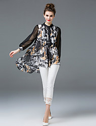 ZIYI Going out Cute Spring Summer BlouseGeometric Round Neck Long Sleeve Black Silk Polyester