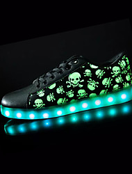 Sneakers Spring Fall Light Up Shoes Comfort PU Outdoor Flat Heel Lace-up Black Walking