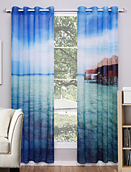 Two Panels Curtain Modern Nature & Landscapes Living Room Polyester Sheer Curtains Shades Home Decoration For Window