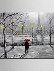 E-HOME Stretched LED Canvas Print Art The Snow Lovers LED Flashing Optical Fiber Print One Pcs