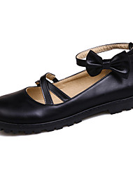 Flats Spring Summer Fall Winter Mary Jane Comfort Leatherette Party & Evening Dress Casual Flat Heel Bowknot Buckle Black Pink Red Beige