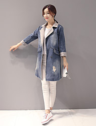 Sign sleeve denim long sections windbreaker jacket female 2016 new fall fashion casual denim jacket