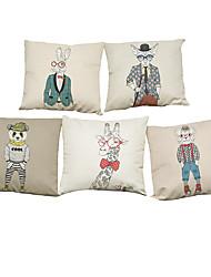 Set of 5 Cartoon portrait  Linen Pillowcase Sofa Home Decor Cushion Cover (18*18inch)