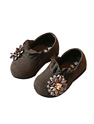 Baby Flats Comfort Flower Girl Shoes Leatherette Spring Fall Casual Outdoor Walking Comfort Flower Girl Shoes Magic Tape Low HeelBlack