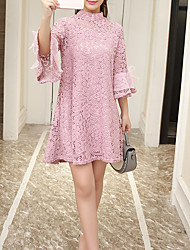 Going out Casual/Daily Holiday Sexy Street chic Sophisticated Sheath Dress,Solid Lace Stand Above Knee ¾ Sleeve Others Pink Red BlackAll