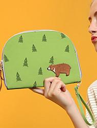Women Cosmetic Bag PU Outdoor Arm Green