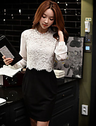 DABUWAWA Women's Going out Casual/Daily Work Vintage Street chic Sophisticated Sheath Lace Black and White Dress Patchwork Lace Ruched Split