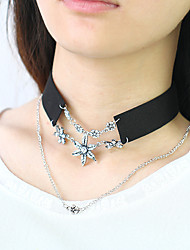 Women's Choker Necklaces Alloy Velvet Simulated Diamond Flower Fashion Euramerican Black Pink Jewelry Casual 1pc