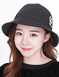 Unisex Cotton Personalized Striped Print Pot Cap Cloth Summer Beach Fisherman Hat