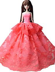 Fête / Soirée Robes Pour Poupée Barbie Rose Lace Robes Pour Fille de Jouets DIY