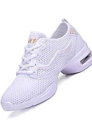 Non Customizable Women's Dance Shoes Fabric Fabric Modern Sneakers Chunky Heel Practice Black White