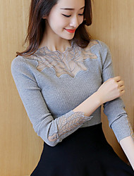 # 4389 Women Slim Hitz lace long-sleeved sweater Maple stretch shirt