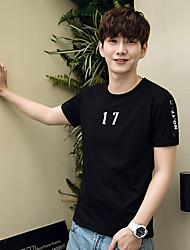 2017 # тонкий сострадательной хлопка шею с коротким рукавом платья 2017 лета тенденция корейских мужчин&# 39, S с короткими рукавами