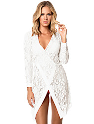 Women's Tie up Long Sleeves Lace Bathing Suit Beachwear