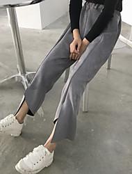 unterzeichnen Hong Kong Herbst und Winter Wind retro minimalistisch feste Farbe unregelmäßig Schlitz Beinausschnitt Wildleder lässige Hose