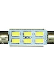 10x Festoon 42mm 6 5730 WHITE Car Interior LED No-polar 12V Dome Map Light Bulb
