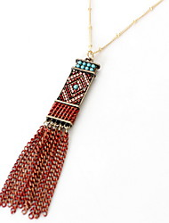 Women's Choker Necklaces Pendant Necklaces Jewelry Crystal Alloy Jewelry Tassel Fashion Personalized Euramerican Red JewelryParty Special