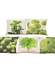 Set of 5 freshness  plant pattern Linen Pillowcase Sofa Home Decor Cushion Cover